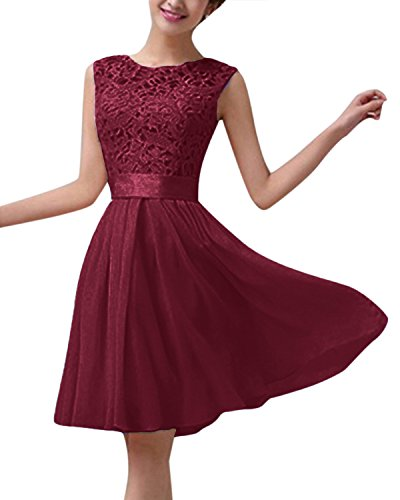 ZANZEA Damen Spitze Ärmellos Party Club Kurz Slim Abend Brautkleid Cocktail Ballkleid Weinrot EU 42/US 10