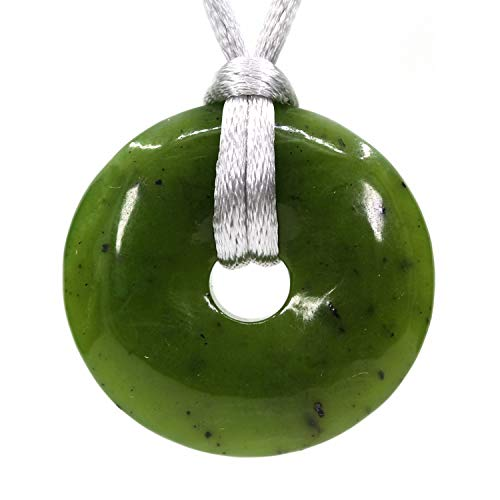 Natural A Grade Canadian Nephrite Jade Circle Coin Peace Donut 30M Beads Adjustable Braided Rope Pendant Necklace Unisex