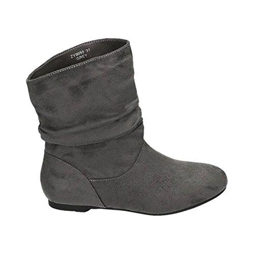 King of Shoes Botines Botas Boots Planas Avispas Botas Zapatos 90, Color Gris, Talla 36 EU