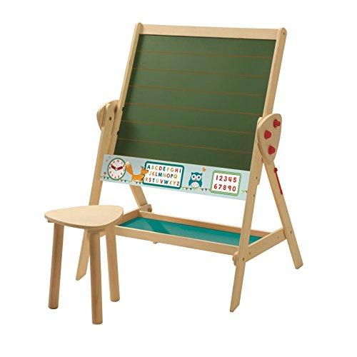 roba Tafel & Kinder-Sitz-Set, Kindertafel wandelbar zu Tisch-Stuhl-Set, Standtafel drehbar zu Kindertisch, Schreibtafel liniert, Uhr, ABC, Zahlen und Ablage, Holz natur