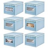 mDesign Juego de 6 Cajas de Tela – Práctico Organizador de armarios con Tapa para Dormitorio, salón o baño – Caja de almacenaje apilable de Fibra sintética Transpirable – Azul Claro/Blanco