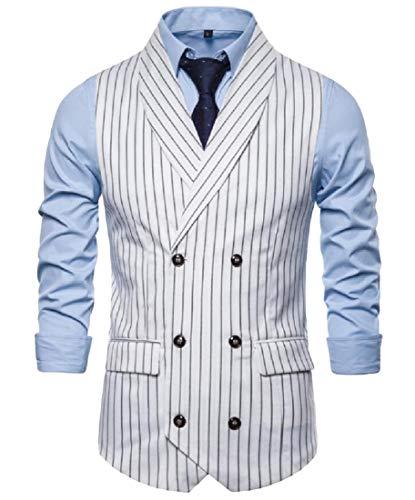 securiuu Herren ärmellos gestreift Anzug Weste Jacke formelle Blazer Doppelreiher Weste Gr. XL, weiß