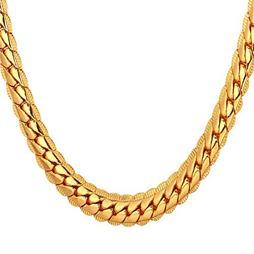 U7 Men Boys 18K Gold Plated Chain 18KGP Stamp Fashion Jewelry 6MM Wide Unique Snake Curb Chain Necklace, 18 Inch Choker