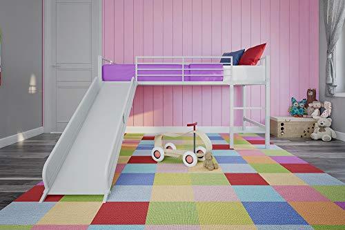 DHP Junior Twin Metal Loft Bed with Slide
