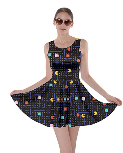 CowCow Womens Maze Cartoon Black Fun Skater Dress - S