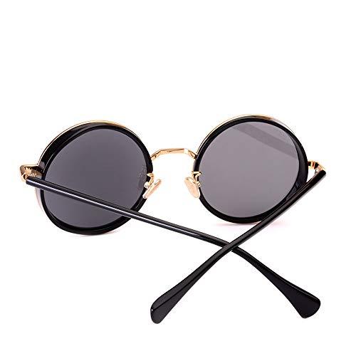 Gafas de sol para hombre, polarizadas, retro, espejo de conducción, marco redondo, marco redondo, estilo retro, personalidad elegante, vanguardista (color: gris)