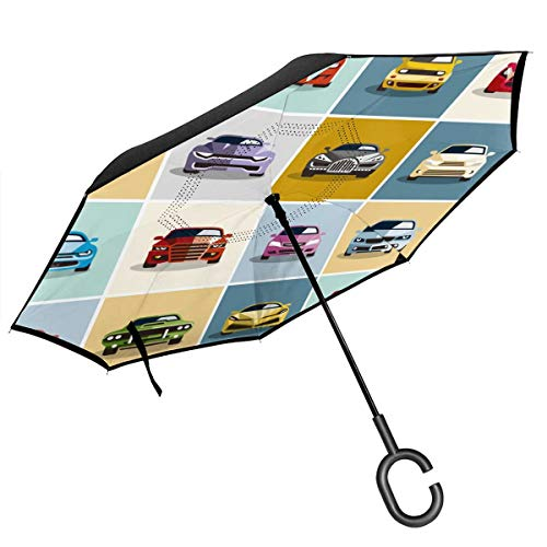 Save %46 Now! ACHOGI Car Icons Windproof Double Layer Folding Inverted Umbrella, Self Stand Upside-D...