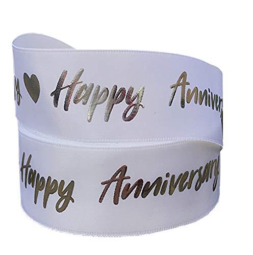 Weißes und silberfarbenes Geschenkband zum Hochzeitstag, 2 m x 22 mm, für Kuchendekoration, Geschenkpapier, Autoschleifen, Aufsätze oder Verpackungen für Taschen, Boxen, Luftballons, Schnur und Karten