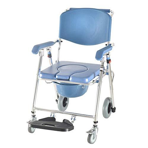 LUNAH Duschsitz Transport Rollstuhl 3-in-1 Aluminium Badezimmer Dusche Bad Stuhl Nachtkommode für alte Menschen Patient Badezimmer Hocker (Farbe: Blau, Größe: 93cm)