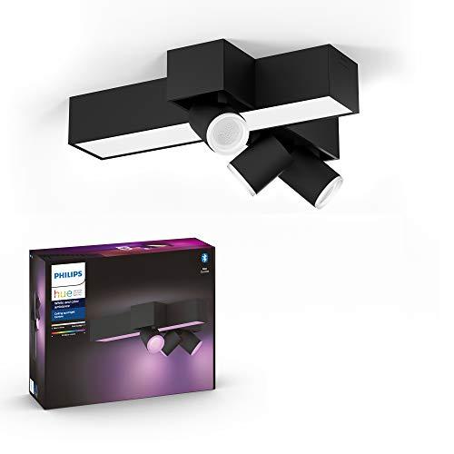Philips Hue Centris Lámpara Inteligente LED negra (3 focos + lámpara), con Bluetooth, Luz Blanca y Color, Compatible con Alexa y Google Home