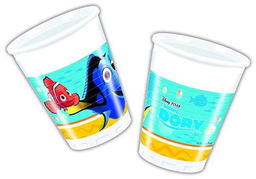 Procos 86649 – Lot de 8 gobelets en Plastique, Motif Le Monde de Dory, contenance de 200 ML - Couleur Bleu / Jaune