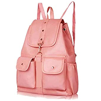 PAGWIN® PU Leather Student Backpack School Bag for Girls Travel Bag Collage Trendy Latest Stylish Girl Shoulder Backpack (Baby Pink) PB-0026
