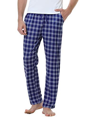Aiboria Pantalones de pijama de algodón a cuadros para hombre, con cordón elástico en la cintura, Azul oscuro., Small