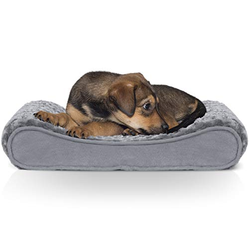 Furhaven Pet Dog Bed - Orthopedic Ultra Plush Faux Fur Ergonomic Luxe Lounger Cradle Mattress Contour Pet Bed with Removable Cover for Dogs and Cats, Gray, Small