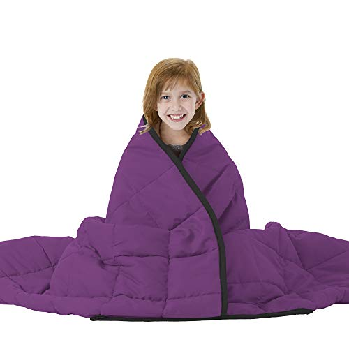 Joyching Weighted Blankets for Adults Twin Reversible Cooling Heavy Blanket Super Soft Microfiber Material with Premium Glass Beads (Black/Purple, 48x72 inches 10 lbs)
