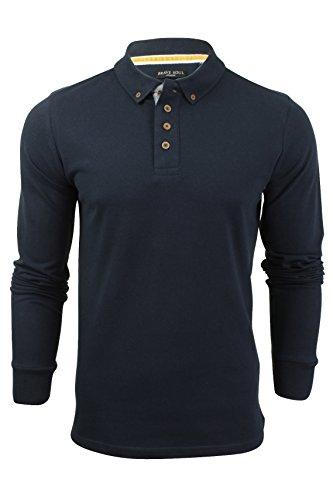 Herren Polohemd T-Shirt von Brave Soul 'Lincoln' Piquet Langärmelig (Vintage Blue) S