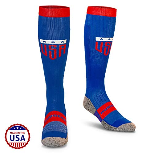 MudGear USA Compression Socks - Men's and Women's Patriotic Running (1 Pair) - Large