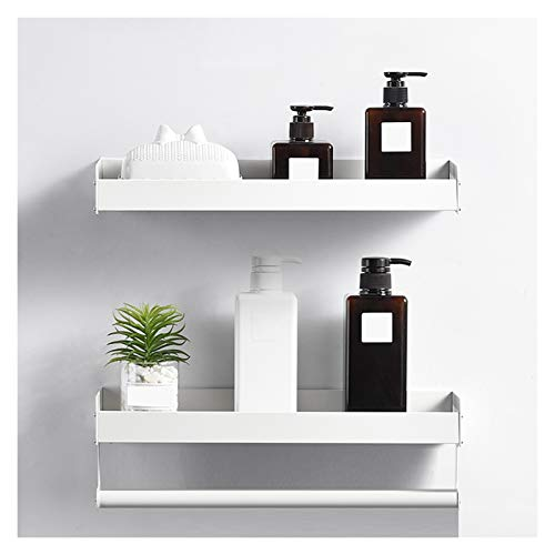 ZHANWEI badrum hyllor, rum aluminium handdukshållare perforerade installationsställ inomhus badrum kök toalett dekoration stark bärande (färg: Vit, storlek: A-40 x 14 cm)