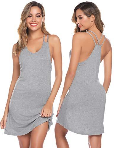 Sykooria Pijama Verano Mujer Camisones Algodón Sexy Camisa Tirantes Camisón Ropa para Noche Ligero y Suave Casual Vestidos Verano Largos sin Mangas