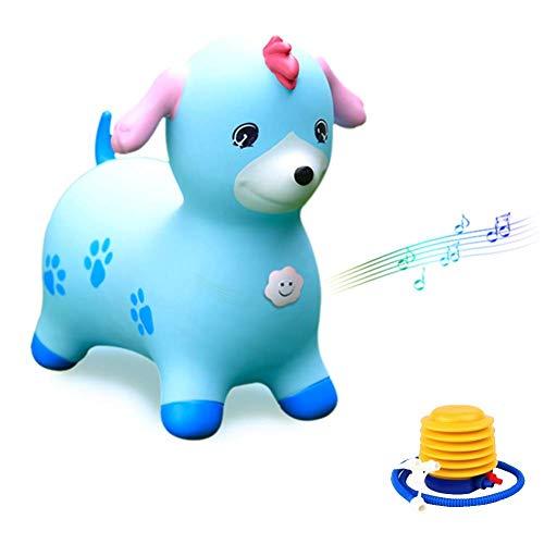 WHTBB Tramoggia di Cavallo Blu, Tramoggia di Cavallo Gonfiabile Buttafuori di Cane Blu, Pompa Inclusa (Tramoggia di Spazio Gonfiabile, Cavallo da Salto, Animale rimbalzante in Sella)