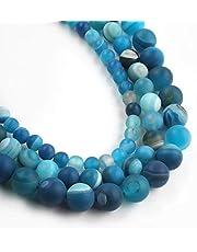 يوتشوس 10 مم طاووس أزرق باهت لامع عقيق مقطر مستدير خرز حجري طبيعي لصنع المجوهرات