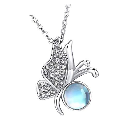 Collar de mariposa para mujer de plata de ley 925 con colgante de piedra lunar