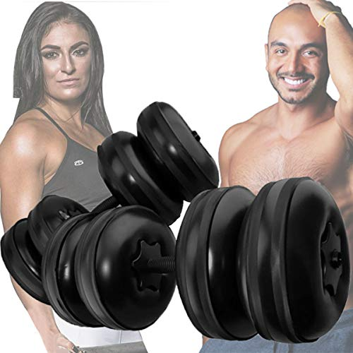 Water Filled Dumbbells, Travel Dumbbells Adjustable Water Fillable Dumbbells Set for Men and Women, Eco-Friendly PPC Dumbbells for Bodybuilding Weight Lifting Training Professional Workout (Black)