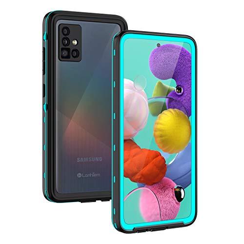 Lanhiem Hülle Kompatibel mit Samsung Galaxy A51, IP68 Wasserdicht 360 Grad Handyhülle A51 Schutzhülle, Stoßfest Staubdicht Schneefest Outdoor Panzerhülle mit Eingebautem Displayschutz, Blau