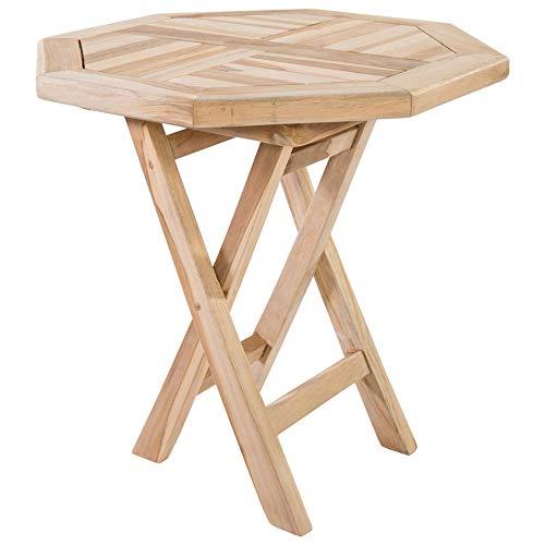 MACOShopde by MACO Möbel Beistelltisch aus massivem Teak Holz wetterfest für Garten, Balkon und Terrasse – 8-eckiger Holztisch 50 x 50 cm