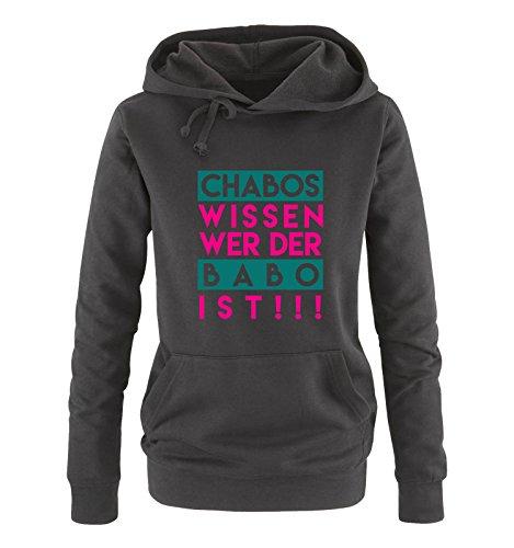 Comedy Shirts - Chabos wissen wer der BABO ist! - Damen Hoodie - Schwarz/Pink-Türkis Gr. L