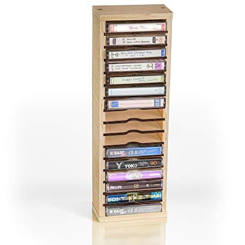 TunePhonik Wooden 16 Slot Cassette Tape Storage Case Organizer