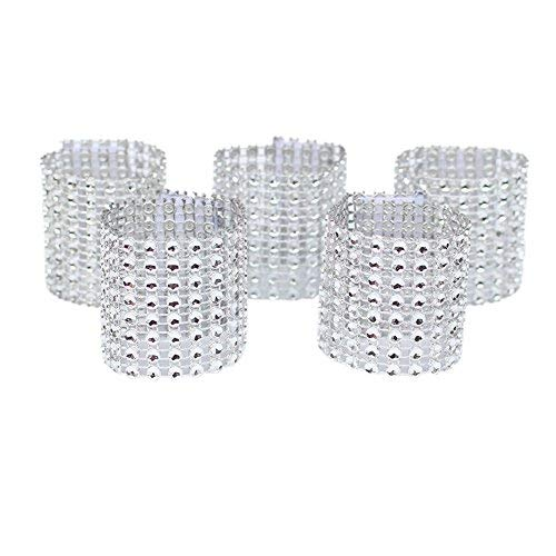 Amajoy Set of 100 Napkin Rings Rhinestone Napkin Rings Adornment For Wedding Party Banquet Dinner Decor Wedding Favor (Silver)
