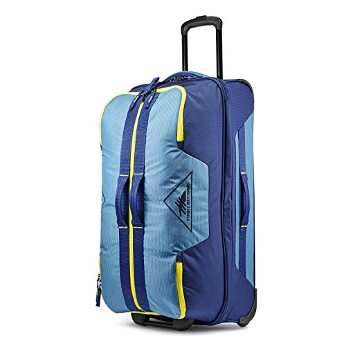 High Sierra Dells Canyon Wheeled Duffel Bag, Graphite Blue/True Navy/Glow, 73L
