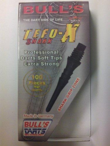 BULL'S Erwachsene Schwarz Tefo-x Shark Soft Tips 6mm 100's, 100