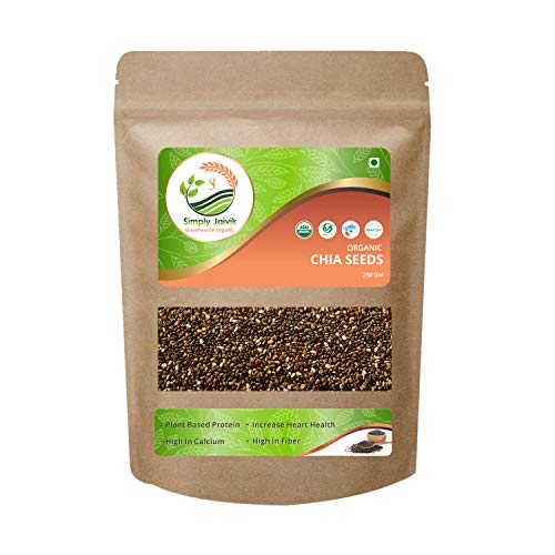 USDA Organic Certified Simply Jaivik Chia Seeds 250 Gram Organic - Chia Seeds High in Protein | Rich Source of Fibre | High in Omega 3 Fatty Acids | Best Anti-Oxidant | Rich in Iron and Calcium