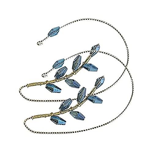 LIUU 1 Pair Vintage Ear Cuff Earrings,Women Fashion Beading Ear Hook Earrings Ear Wrap Pearl Flower Ear Clips Crawler Hook Earrings Non Piercing Jewelry for Women Girls (Blue)