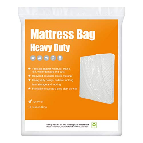 BYSURE 2-Pack 4 Mil Heavy Duty Mattress Bags for Moving & Long Term Storage, 3D Envelope Shape Fits Twin/Full Size