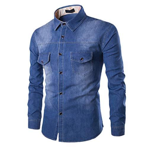 Hffan Herren Jeansjacke Stehkragenhemd Retro Denim Tops Farbverlauf Einfach Moden Design Shirt mit Brusttasche Langarm Slim Fit Casual Freizeithemd für Männer(Hellblau,Medium)