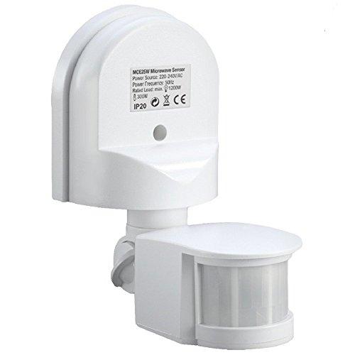 Maclean MCE25Detector de Movimiento Pared Movimiento Sensor Infrarrojos 180° Sensor Exterior empotrable Techo Pared Color Blanco