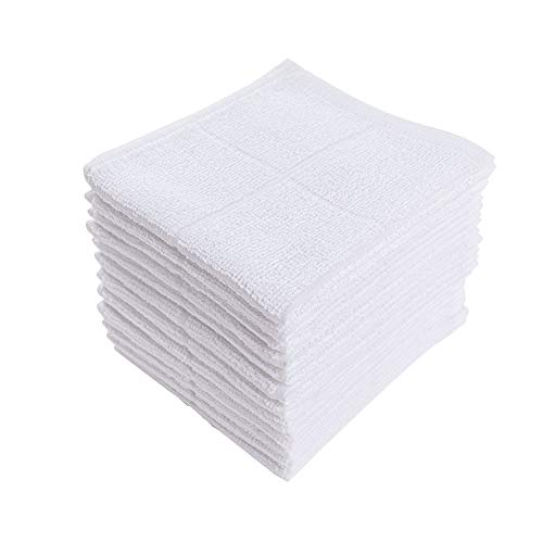 Glynniss Dishcloths Kitchen Highly Absorbent Dish Rags 100% Cotton Dish Cloths for Washing Dishes, Cleaning (11 x 11 Inches, 12 pcs, White)