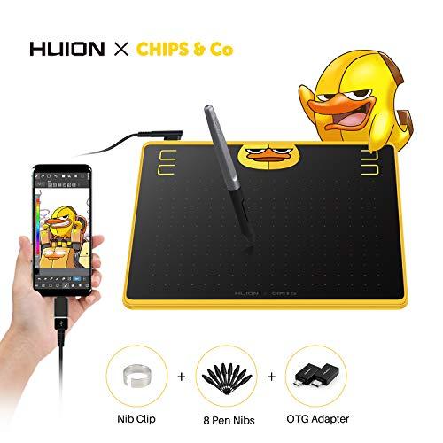 HUION HS64 Chips Special Edition Stifttablett 6,3 x 4 Zoll Design Grafiktablett mit 8192 Druckempfindlichkeit und Vier programmierte Tasten, OTG Adapte Betriebssystem Android