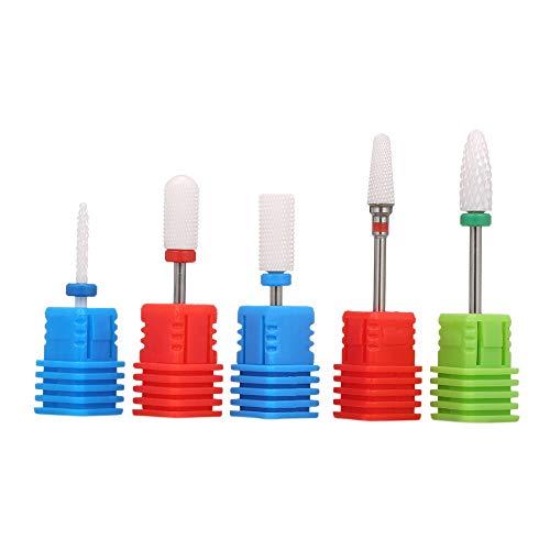 Punte Fresa Unghie Ceramica,Anself 5pcs Nail Drill Bits Set,Resistente alla Corrosione e alla Ruggine per Manicure Pedicure Nail Art Tool