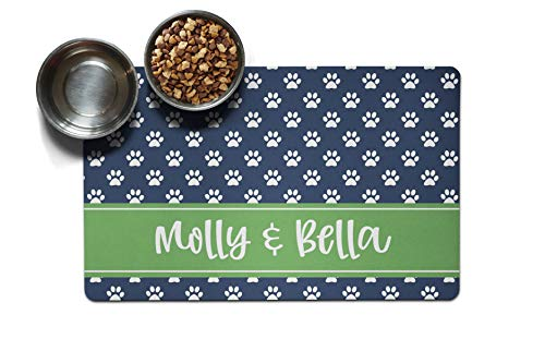 Personalized Large Pet Mat | Two Sizes | Dog Placemat | Dog Food Mat | Pet Placemat | Pet Food Mat | Personalized Pet Placemat | Fabric Placemat (10 x 16, Navy Paw Prints) -  The Navy Knot