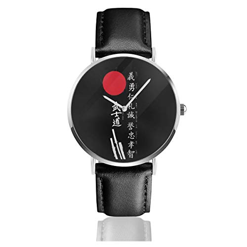 Japanische Kanji Samurai Bushido Cool Classic Casual Fashion Quarzuhr Edelstahl Lederarmband Uhren