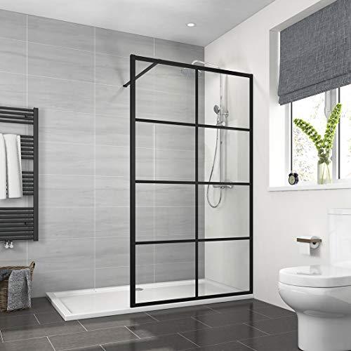 Meykoers Walk in Duschwand 90x200cm aus 8mm Sicherheitsglas Duschtrennwand Duschglas Walk-in Duschabtrennung mit Stabilisator und Nano-Beschichtung - Schwarz Karo Rahmen