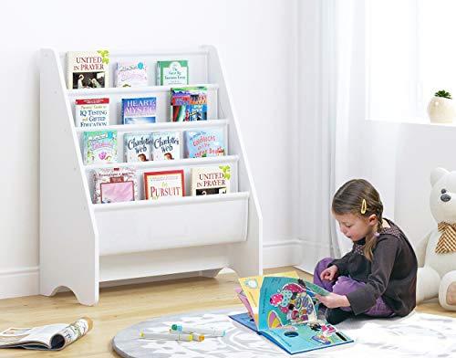 UTEX-Bücherregal für Kinder,Kinderbücherregal, Holz, Großer Raum, Weiß
