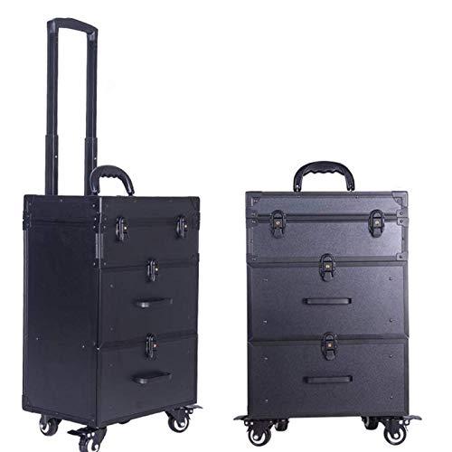JJSFJH Estuche de Maquillaje Profesional/Estuche cosmético/Trolley/Suitcase/Box Trolley de Gran Capacidad con 2 cajones deslizantes Lisos (Color : Black)