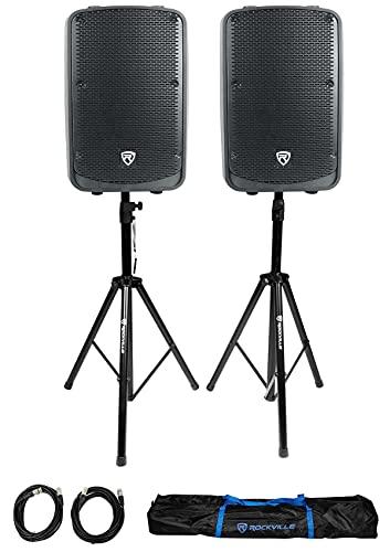 "(2) Rockville Titan 12 12"" 2000w Powered DJ PA Speaker/Bluetooth/DSP/Wireless Link Bundle with Pair of Rockville RVSS2-XLR Adjustable Tripod Speaker/Light Stands with (2) 20 Foot XLR Cables"