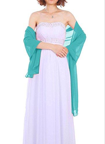 Dressystar Chiffon Stola Schal für Kleider in verschiedenen Farben Türkis 200cm*50cm