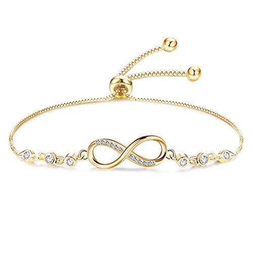 CASSIECA 925 Sterling Silber Infinity Armbänder für Damen Frauen Zirkonia Charm Unendlichkeitszeiche Armband Muttertag Weihnachten Valentinstag Verstellbar Silber/Gold/Rose Gold